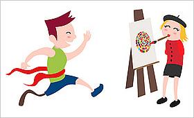 """Ein Läufer mit Prothese, eine Mundmalerin; Motive der neuen """"Inklumoji""""-Reihe der Aktion Mensch"""