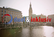 """Logo des Projekts """"dual und inklusiv"""" vor der Kulisse von Hamburg"""