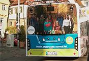 """Linienbus mit Werbung der Esslinger Hoodie-Manufaktur """"WASNI"""""""